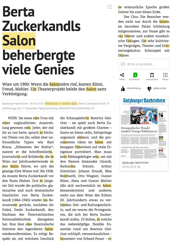 Salzburger Nachrichten 24.10.2016, Berta Zuckerkandl
